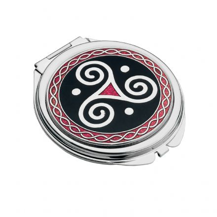 Black and Red Compact Mirror Celtic Triskele